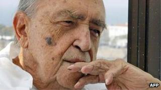 Oscar Niemeyer in his office above Copacabana beach in Rio de Janeiro, 30 July 2003
