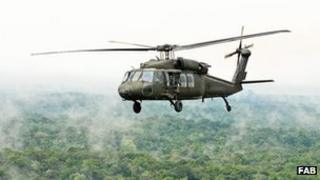 Brazilian helicopter in the Amazon