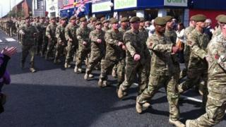 Soldiers from 2nd Battalion The Mercian Regiment on homecoming parade in Holywood
