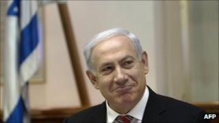 Benjamin Netanyahu in the weekly cabinet meeting on 29 April