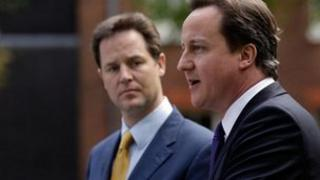 Nick Clegg and David Cameron in the Downing Street rose garden