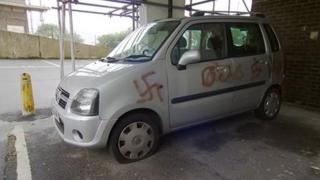 Swastikas on vandalised car