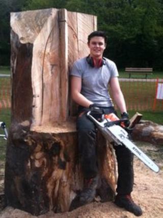 Jonathan Sherwood carving seat in Harrogate