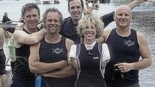 Cox Sue Kent with the Mumbles ARC men's crew