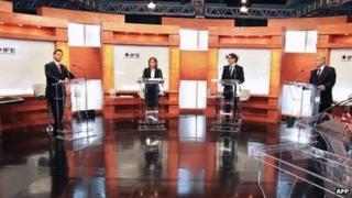 Mexican election debate left to right: Enrique Pena Nieto, Josefina Vazquez Mota, Gabriel Quadri, Andres Manuel Lopez Obrador