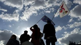 French anti-austerity protesters