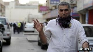 Nabeel Rajab during an anti-government protest in Bahrain (11 February 2012)