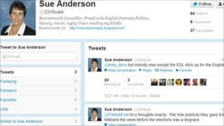 A screen shot of Sue Anderson's Twitter page on Sunday