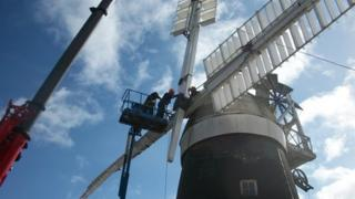 Replacement sails are added to Bardwell windmill