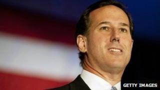 Rick Santorum at a campaign rally