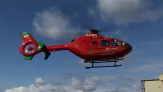 Wales Air Ambulance EC135 helicopter G-WASN taking off