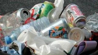 Litter in a bin