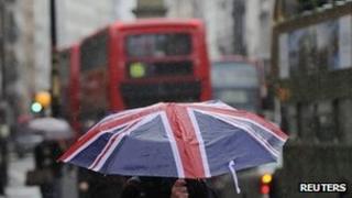 Shopper in rain