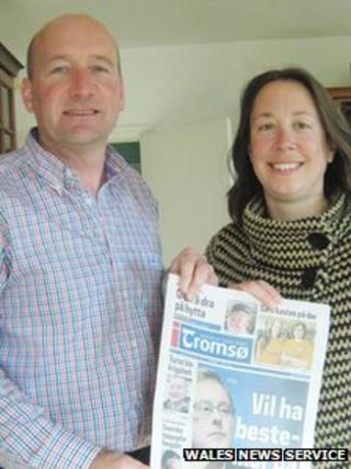 David Wilson and his wife Deborah made the local newspaper in Norway