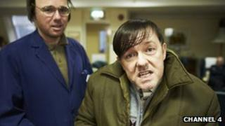 Ricky Gervais and Karl Pilkington in Derek