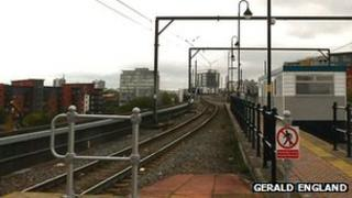 Tram track near Cornbrook Metrolink