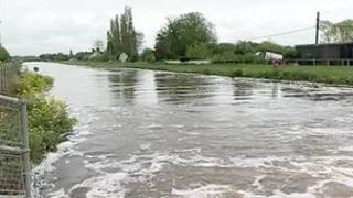 Floodwater on the Somerset levels
