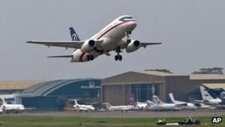 Photo released by Sergey Dolya - the ill-fated Sukhoi Superjet-100 takes off from Halim Perdanakusuma airport in Jakarta, Indonesia on 9 May, 2012