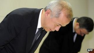 Newly appointed Tepco president Naomi Hirose bows his head