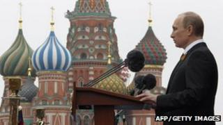 Vladimir Putin addressing a crowd in front of St Basil's cathedral, Moscow, May 9, 2012