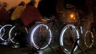 Cyclists producing electricity