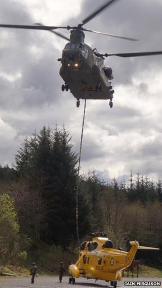 RAF Chinook and Sea King