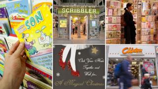 From left, clockwise: Card stack, Scribbler shop facade, customer shopping for cards, Clinton cards facade, Christmas card