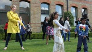 Dancers practising the Bollywood routine