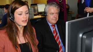 First Minister Carwyn Jones AM meets staff and volunteers during a visit to officially open Marie Curie Cancer Care's new National Support Centre in Pontypool