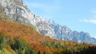 An image of the Dolomite mountains near the Italian town of Cimolais