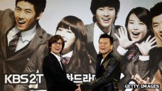 Actor Bae Yong-Joon and Singer and producer Park Jin-Young (JYP) promote KBS TV drama 'Dream High' on 27 December, 2010