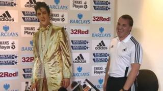 Brendan Rodgers was greeted by a cut-out Elvis ahead of his press conference