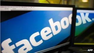 Facebook logo spread across screens