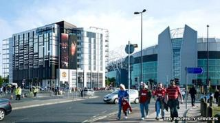 Artist's impression of Gary Neville's planned hotel and supporters' club