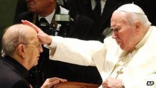 Pope John Paul II blesses Legion of Christ founder Marcial Maciel in 2004