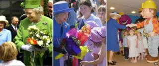 Images of the Queen meeting children in the UK and Commonwealth