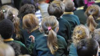 Children at a school assembly