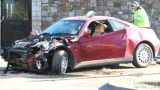 Crashed car in jersey
