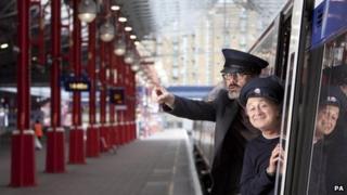 Richard Preddy and Tony Robinson at Marylebone Station