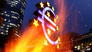 A fire outside the ECB in Frankfurt