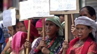Victims of alleged Maoist war crimes protest in Kathmandu