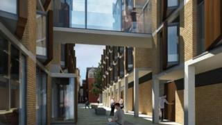 The two new buildings joined by a glazed walkway