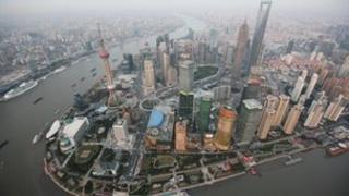 Shanghai financial district from above