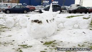 Aeroplane made out of snow