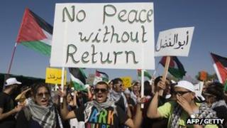 Protesters holding banners that read: No peace without return