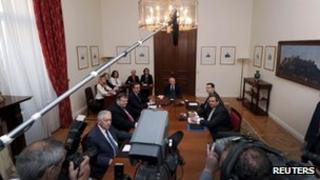Party leaders at talks in Athens (15 May)