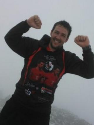 Matt Jones on the summit of Snowdon