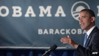US President Barack Obama speaks at a campaign event in New York City 14 May 2012