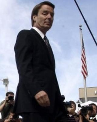 John Edwards walks into a courthouse in Greensboro, North Carolina 16 May 2012
