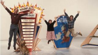 Blue Peter presenters Simon Groom, Janet Ellis and Peter Duncan